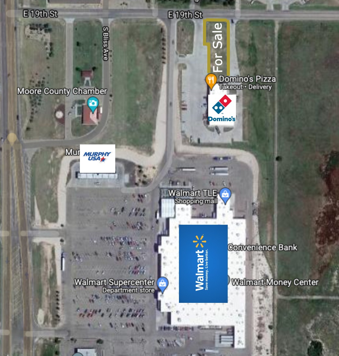 satellite image with a blue logo that says walmart, white logo with a red dominos pizza logo, and white logo with red lettres that says murphys pizza